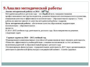 9.Анализ методической работы Анализ методической работы за 2014 – 2015 год. М