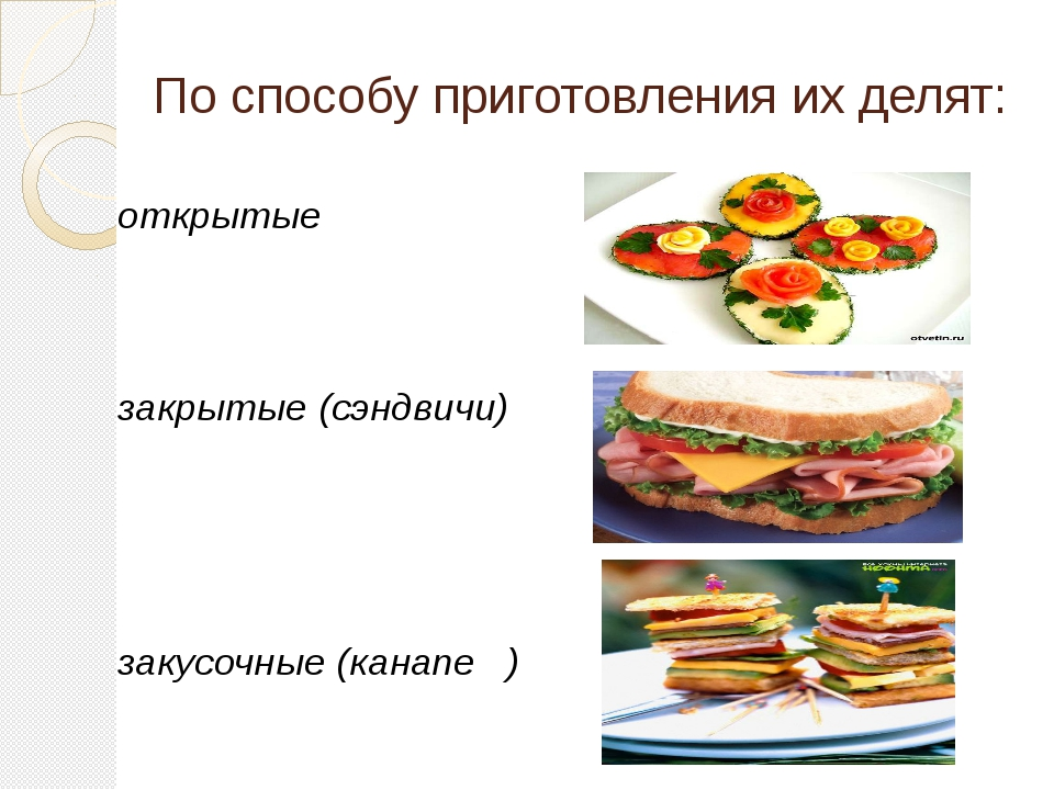 По способу приготовления их делят: открытые закрытые (сэндвичи) закусочные (к...