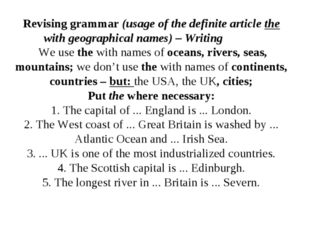 Revising grammar (usage of the definite article the with geographical names)