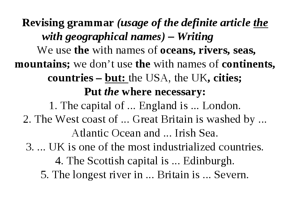 Revising grammar (usage of the definite article the with geographical names)...