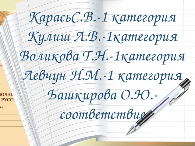 КарасьС.В.-1 категория Кулиш Л.В.-1категория Воликова Т.Н.-1категория Левчун...