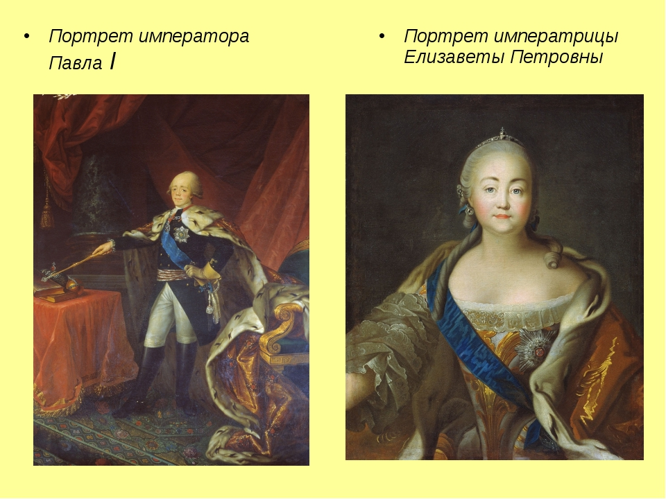 Портрет императора Павла I Портрет императрицы Елизаветы Петровны