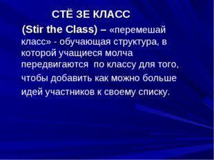 СТЁ ЗЕ КЛАСС (Stir the Class) – «перемешай класс» - обучающая структура, в к
