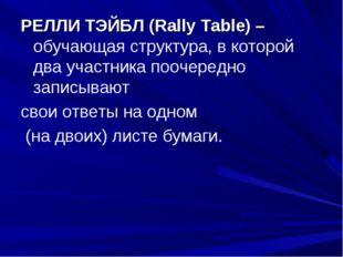 РЕЛЛИ ТЭЙБЛ (Rally Table) – обучающая структура, в которой два участника пооч