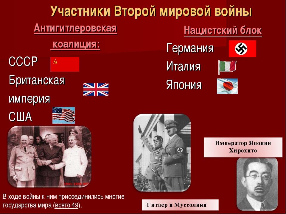 Антигитлеровская коалиция: СССР Британская империя США Участники Второй миров...