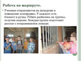 Работа на маршруте. Ученики отправляются на экскурсию в помещение конефермы.