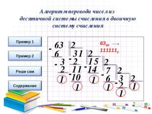 6310 1111112 Алгоритм перевода чисел из десятичной системы счисления в двоичн