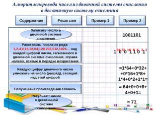Алгоритм перевода чисел из двоичной системы счисления в десятичную систему сч