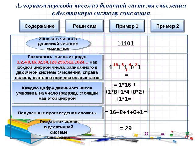 11101 1 1 1 0 1 = 16 8 4 2 1 = 1*16 + +1*8+1*4+0*2+ +1*1= = 16+8+4+0+1= = 29...