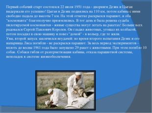 Первый собачий старт состоялся 22 июля 1951 года - дворняги Дезик и Цыган выд