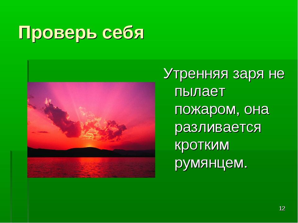* Проверь себя Утренняя заря не пылает пожаром, она разливается кротким румян...