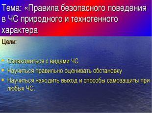 Тема: «Правила безопасного поведения в ЧС природного и техногенного характера