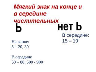 Мягкий знак на конце и в середине числительных На конце: 5 – 20, 30 В середин