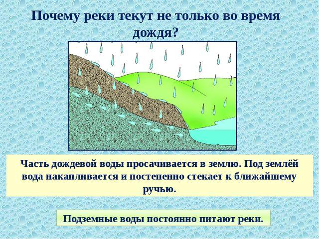 Почему реки текут не только во время дождя? Часть дождевой воды просачивается...