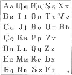 Киргизский алфавит на основе латинской графики