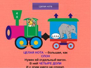 Целая нота 4 4 ЦЕЛАЯ НОТА – большая, как СЛОН Нужен ей отдельный вагон. В ней