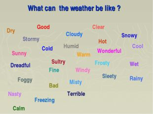 What can the weather be like ? Good Bad Cold Frosty Hot Rainy Wet Windy Sunny