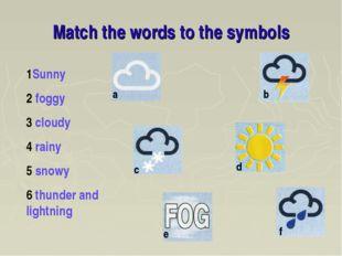 Match the words to the symbols 1Sunny 2 foggy 3 cloudy 4 rainy 5 snowy 6 thun