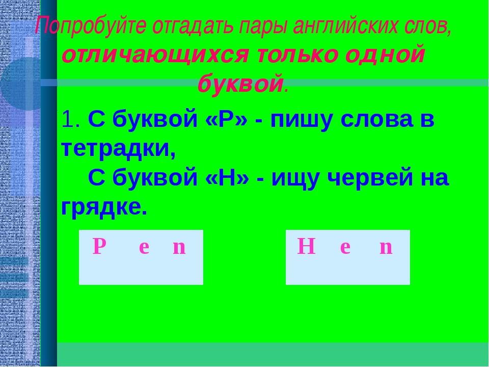 Попробуйте отгадать пары английских слов, отличающихся только одной буквой. 1...