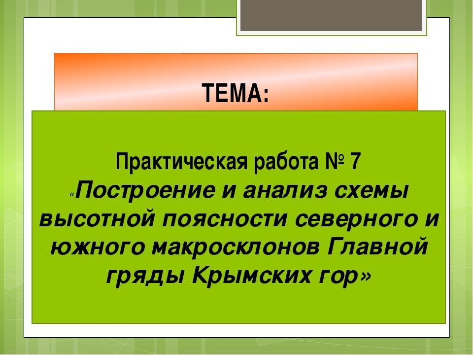 ТЕМА: Практическая работа № 7 «Построение и анализ схемы высотной поясности с...