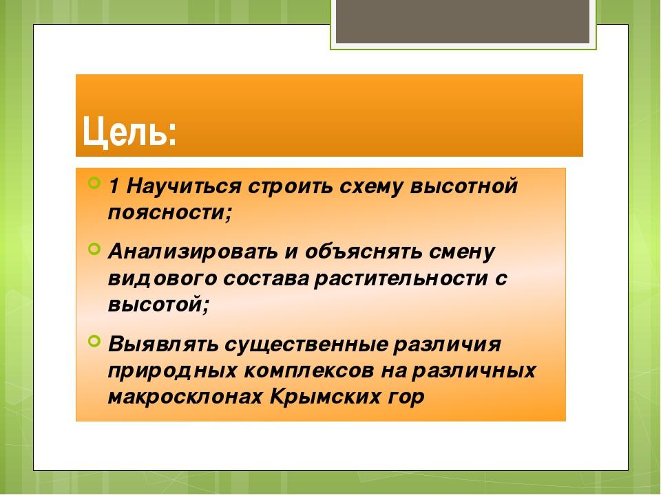 Цель: 1 Научиться строить схему высотной поясности; Анализировать и объяснять...