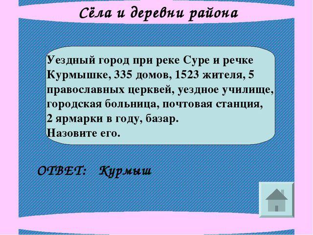 Сёла и деревни района Уездный город при реке Суре и речке Курмышке, 335 домов...