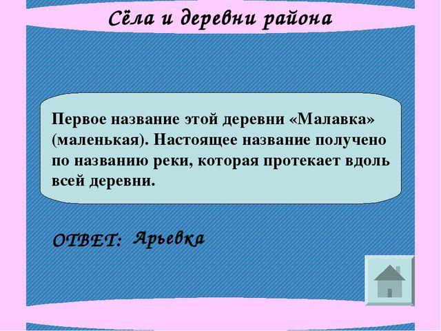 Сёла и деревни района Первое название этой деревни «Малавка» (маленькая). Нас...