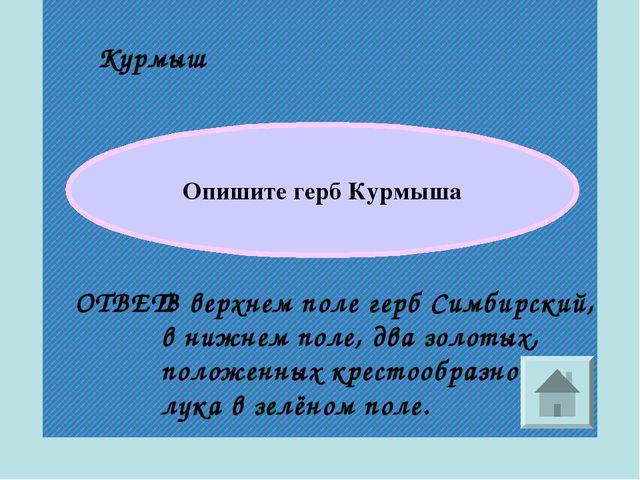 Курмыш ОТВЕТ: Опишите герб Курмыша В верхнем поле герб Симбирский, в нижнем п...