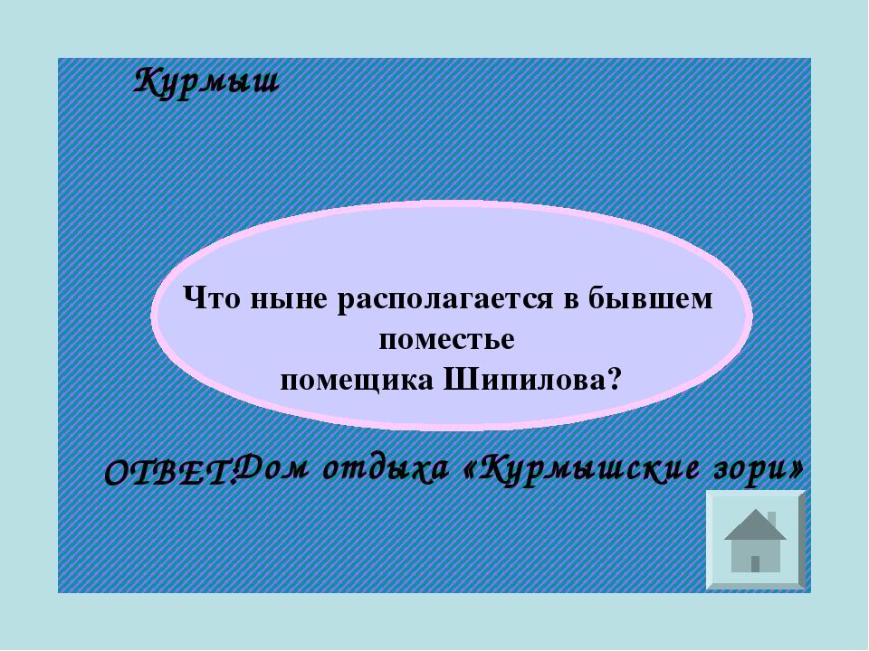 Курмыш Что ныне располагается в бывшем поместье помещика Шипилова? ОТВЕТ: Дом...
