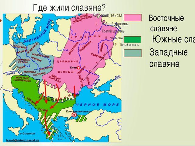 Где жили славяне? Восточные славяне Южные славяне Западные славяне