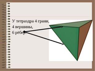 У тетраэдра 4 грани, 4 вершины, 6 рёбер.