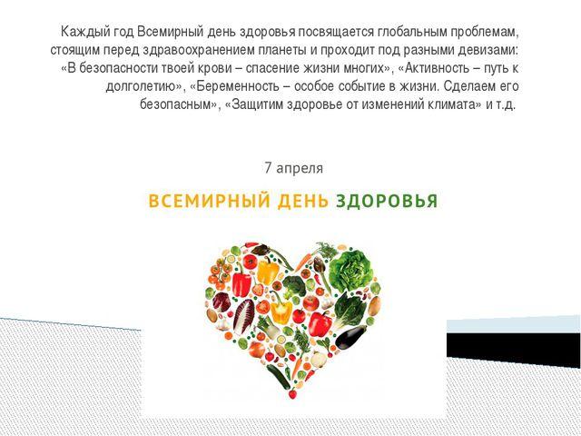 Каждый год Всемирный день здоровья посвящается глобальным проблемам, стоящим...