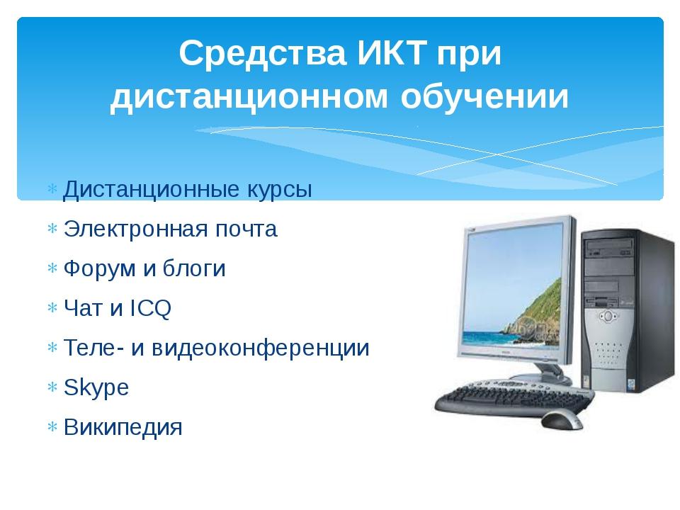 Средства ИКТ при дистанционном обучении Дистанционные курсы Электронная почта...