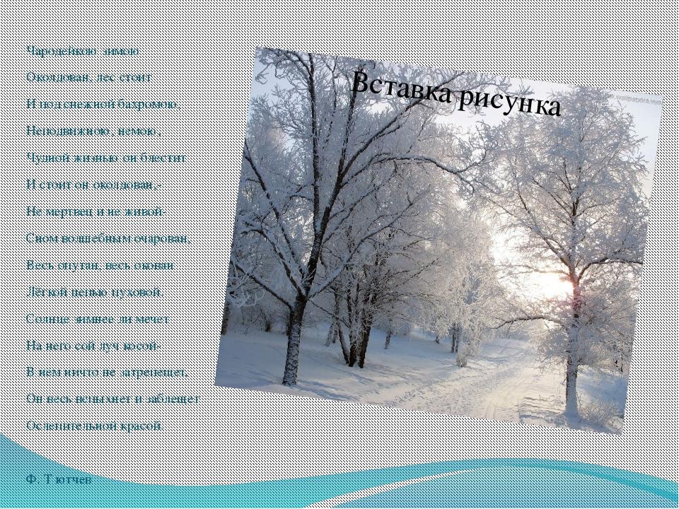 Чародейкою зимою Околдован, лес стоит И под снежной бахромою, Неподвижною, н...