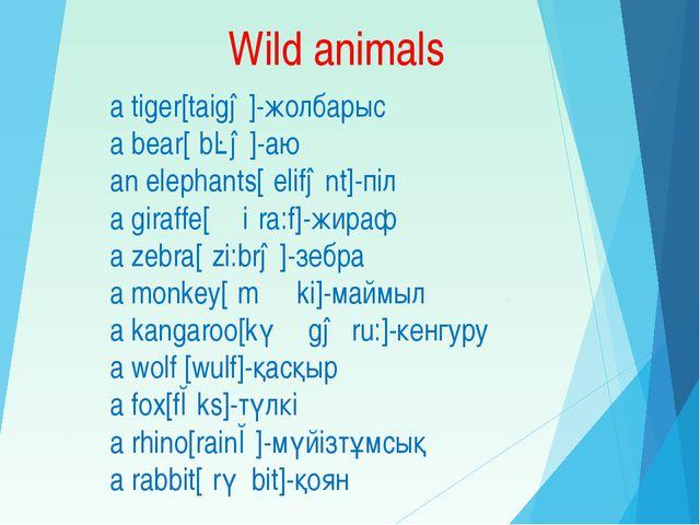 Wild animals a tiger[taigə]-жолбарыс a bear[ʿbɛə]-аю an elephants[ʿelifənt]-п...