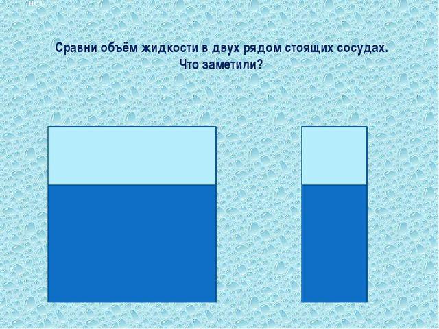 Сравни объём жидкости в двух рядом стоящих сосудах. Что заметили? Вопрос № 11...