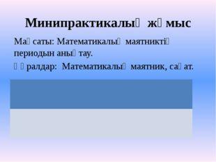 Минипрактикалық жұмыс Мақсаты: Математикалық маятниктің периодын анықтау. Құр