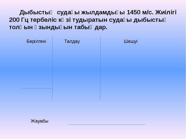 Берілгені Талдау Шешуі Жауабы Дыбыстың судағы жылдамдығы 1450 м/с. Жиілігі 20...