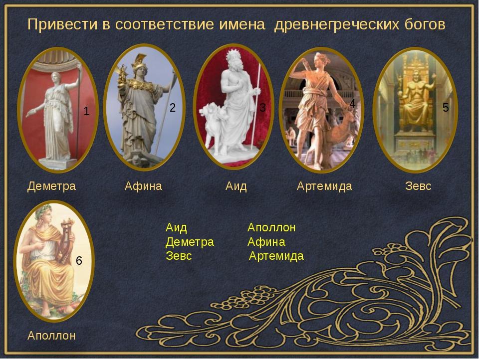 Привести в соответствие имена древнегреческих богов Деметра Афина Аид Артемид...