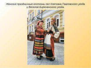 Женские праздничные костюмы сел Клеповка Павловского уезда и Веселое Бирючен