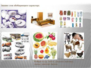 Знание слов обобщающего характера Найди посуду, мебель, домашних животных, од