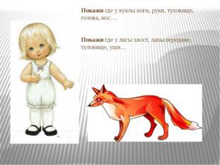 Покажи где у куклы ноги, руки, туловище, голова, нос… Покажи где у лисы хвост