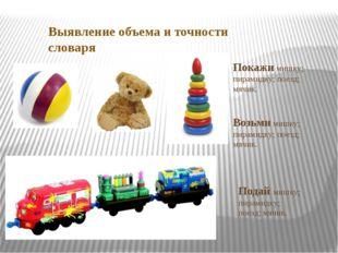 Выявление объема и точности словаря Покажи мишку; пирамидку; поезд; мячик. Во