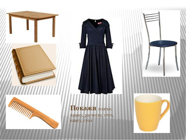 Покажи платье, чашку, расческу, стул, книгу, стол