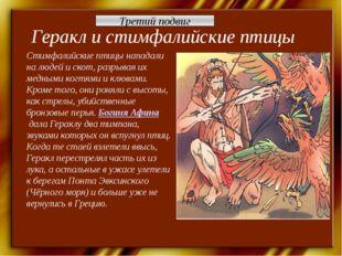 Геракл и стимфалийские птицы Стимфалийские птицы нападали на людей и скот, ра