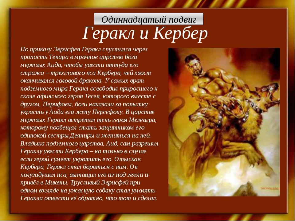 Геракл и Кербер По приказу Эврисфея Геракл спустился через пропасть Тенара в...