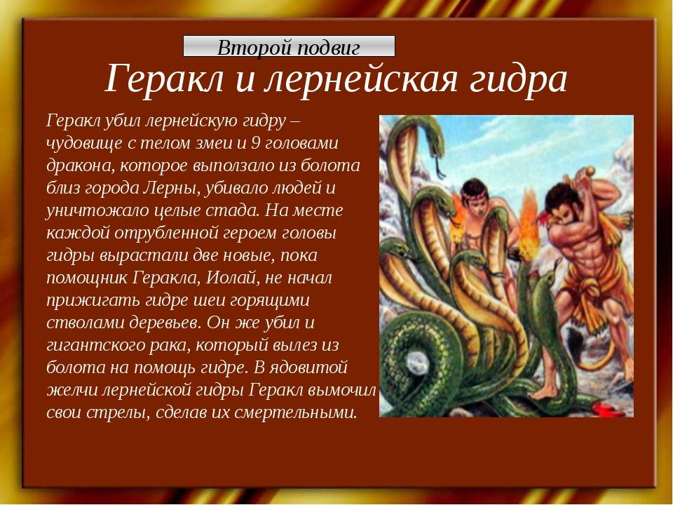 Геракл и лернейская гидра Геракл убил лернейскую гидру – чудовище с телом зме...