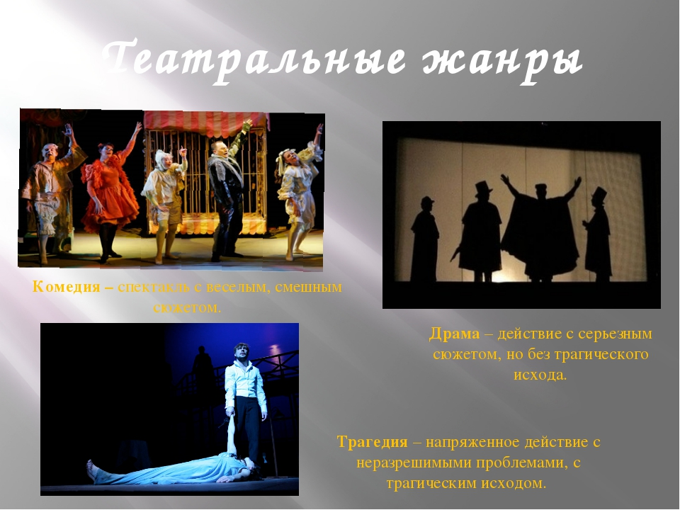 Театральные жанры Драма – действие с серьезным сюжетом, но без трагического и...