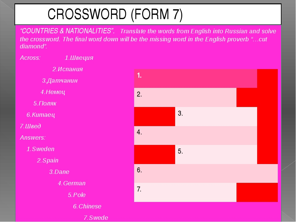 "CROSSWORD (FORM 7) ""COUNTRIES & NATIONALITIES"". Translate the words from Eng..."