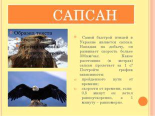 САПСАН Самой быстрой птицей в Украине является сапсан. Нападая на добычу, он